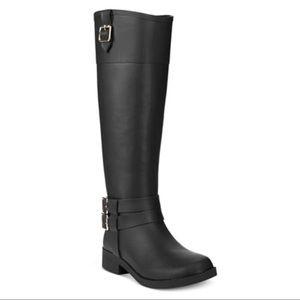 INC Federica Black Rubber Rain Boots Knee High 10